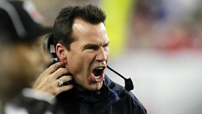 Houston Texans head coach Gary Kubiak shouts from the sideline during the second quarter of an NFL football game against the New England Patriots in Foxborough, Mass., Monday, Dec. 10, 2012. (AP Photo/Steven Senne)