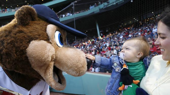 Minnesota Twins mascot T.C. Bear interacts with a young fan before  a baseball game between the Boston Red Sox and the Los Angeles Angels  in Boston, Saturday, May 23, 2015. T.C was visiting Fenway Park on the occasion of Boston Red Sox mascot Wally's birthday. (AP Photo/Michael Dwyer)