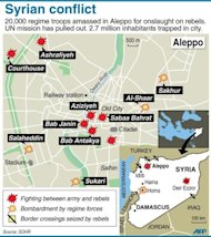 A map of Syria and Aleppo shows the country&#39;s latest fighting