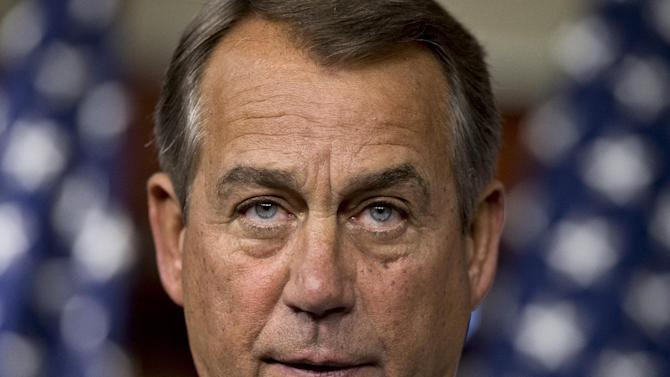 FILE – In this Feb. 6, 2013, file photo House Speaker John Boehner, R-Ohio, repeats his call for President Obama to submit a budget proposal to Congress during a news conference at the Capitol in Washington, the day after President Barack Obama urged Congress on to pass targeted short-term spending cuts and higher taxes as a way to put off sweeping, automatic cuts that would slice deeply into military and domestic programs starting March 1. (AP Photo/J. Scott Applewhite, File)