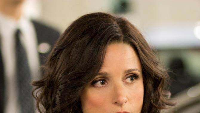 "In this Oct. 4, 2011, photo provided by HBO, actress Julia Louis-Dreyfus stars in the new HBO series ""Veep."" One of the ways Julia Louis-Dreyfus prepared for her role as Vice President Selina Meyer in the new HBO comedy ""Veep"" was to study how to answer questions in a public setting by not really answering them. (AP Photo/HBO, Bill Gray)"