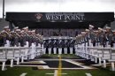 Graduating cadets stand in formation as they arrive for graduation ceremonies at the United States Military Academy at West Point, New York