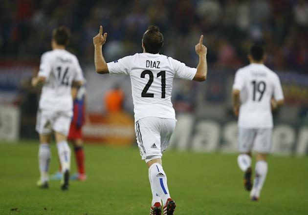 Basel's Marcelo Diaz celebrates his goal against Steaua during the UEFA Champions League group E soccer match between Steaua Bucharest and FC Basel, in Bucharest, Romania, on Tuesday, Oct. 22, 2013