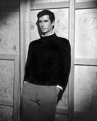 Anthony Perkins on the set of Paramount's Psycho