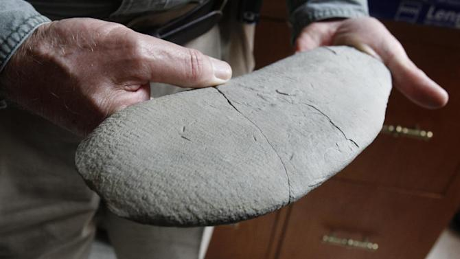 """In this April 20, 2012, photo, David Meyer, a professor of Geology at the University of Cincinnati, holds a lobe of a fossil at Caster Library on the campus in Cincinnati. Experts in the U.S. are trying to figure out what the 450 million-year-old fossil dubbed """"Godzillus"""" used to be. The 150-pound fossil recovered last year in Kentucky by amateur paleontologist Ron Fine is more than 6 feet long. (AP Photo/The Cincinnati Enquirer, Gary Landers)  MANDATORY CREDIT;  NO SALES"""