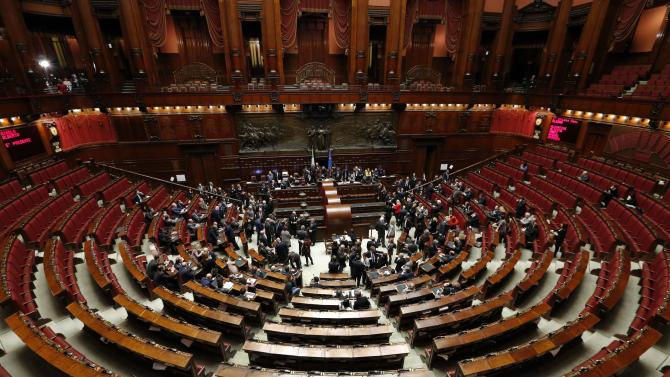 A general view of the Chambers of Deputies as it begins voting for a new president in Rome
