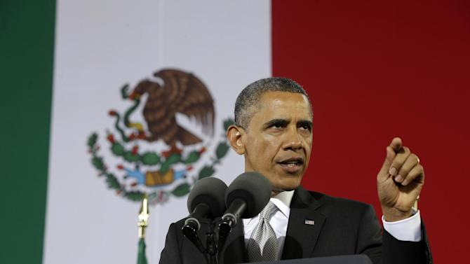 US President Barack gestures as he speaks at the Anthropology Museum in Mexico City, Friday, May 3, 2013. (AP Photo/Pablo Martinez Monsivais)