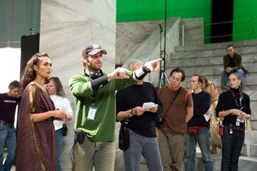 Lena Headey and director Zack Snyder on the set of Warner Bros. Pictures' 300