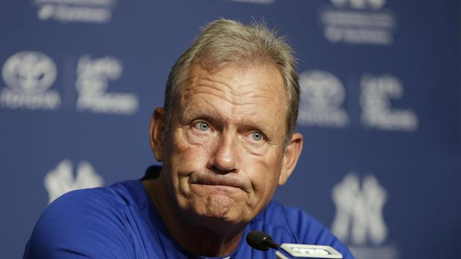 Kansas City Royals interim hitting coach and Hall of Famer George Brett discusses the pine-tar game in which Brett was called out for using a bat on which pine tar exceeded the 18-inch limit, during a news conference at Yankee Stadium on Tuesday, July 9, 2013, in New York. The 30th anniversary of the game is July 24, 2013. After Kansas City filed a protest, the game was resumed at Yankee Stadium on Aug. 18, 1983. (AP Photo/Kathy Willens)