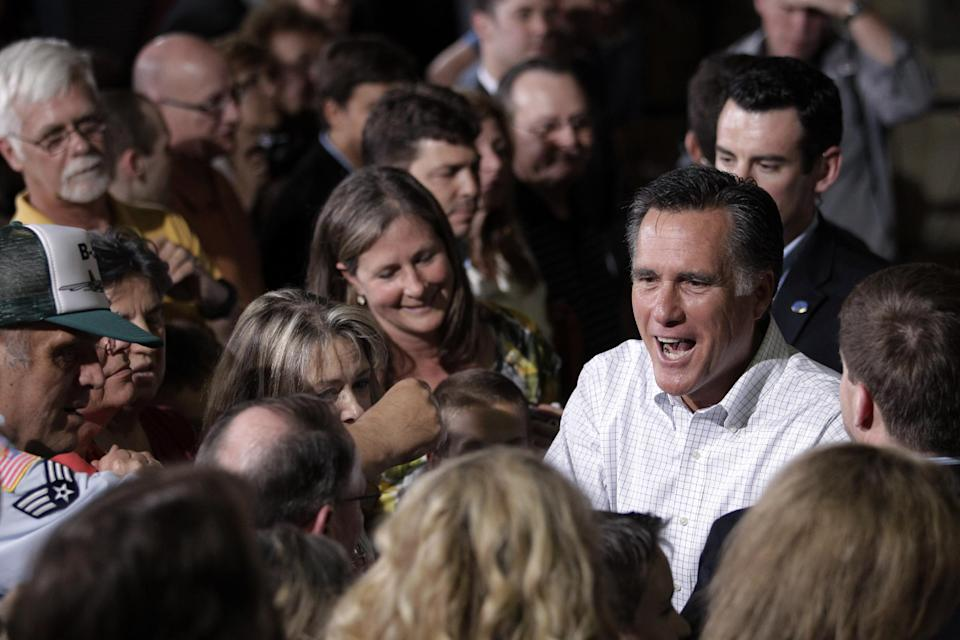 Republican presidential candidate, former Massachusetts Gov. Mitt Romney greets supporters at a campaign stop in Pittsburgh, Pa., Friday, May 4, 2012. (AP Photo/Jae C. Hong)