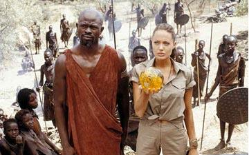 Djimon Hounsou and Angelina Jolie in Paramount's Lara Croft Tomb Raider: The Cradle of Life