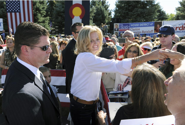 Ann Romney, wife of Republican presidential candidate Mitt Romney, shakes hands with supporters at a campaign event at Hudson Gardens and Event Center in Littleton, Colo., on Tuesday, Oct. 2, 2012.  (