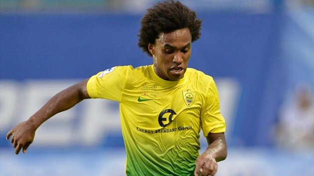 Willian of FC Anzhi Makhachkala in action during the Russian Premier League match between FC Dinamo Moscow and FC Anzhi (Getty Images)