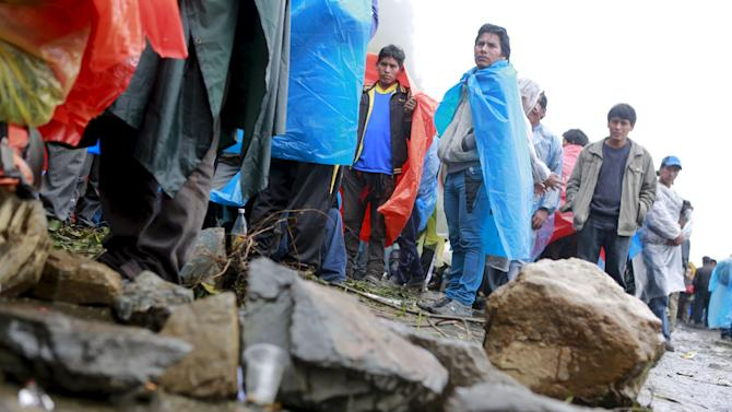 Coca growers from Yungas region block a main road during a protest in Unduavi