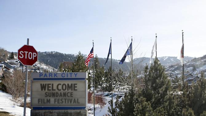 A sign outside of the Main Street area welcomes people to the 2014 Sundance Film Festival on Thursday, Jan. 16, 2014, in Park City, Utah. The independent film festival runs Jan. 16-26, 2014. (Photo by Danny Moloshok/Invision/AP)