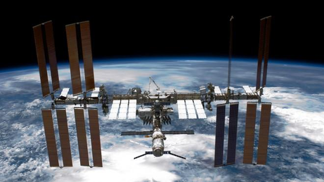 The International Space Station back-dropped by planet Earth.
