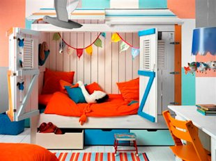 Colorful Cupboard Bed