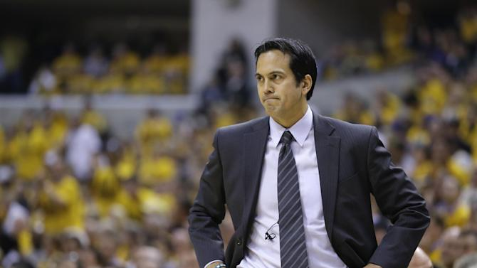 Miami Heat coach Erik Spoelstra watches during the first half of Game 4 of the NBA basketball Eastern Conference finals against the Indiana Pacers, Tuesday, May 28, 2013, in Indianapolis. (AP Photo/Michael Conroy)