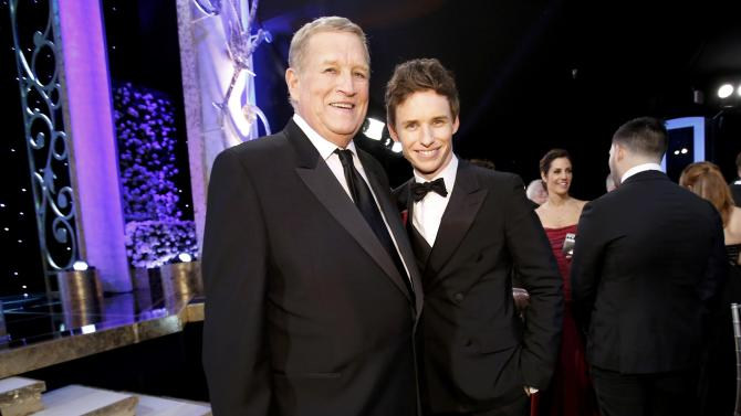 Screen Actors Guild president Howard poses with actor Redmayne at the 21st annual Screen Actors Guild Awards in Los Angeles