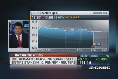 Reuters: Pershing Square to sell entire JCP stake