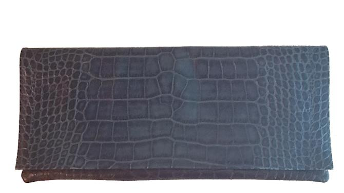 In this undated image released by Elie Tahari, a blue clutch purse made of croc embossed leather is shown. Exotic skins _ and many more faux exotic skins _ can bridge the gap between too much and not enough. Choices go from neon embossed leathers that mimic python and ostrich to rare and very expensive tree-frog skin. It's mostly accessories, but there are a lot of skin-inspired printed fabrics out there, too.  (AP Photo/Elie Tahari)