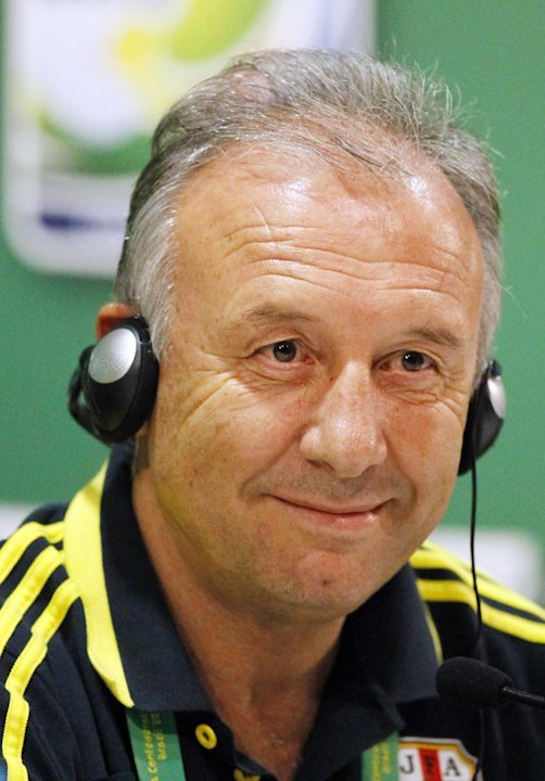 Japan head coach Alberto Zaccheroni from Italy smiles during the press conference of Japan national team at the soccer Confederations Cup in Recife, Brazil, Tuesday, June 18, 2013