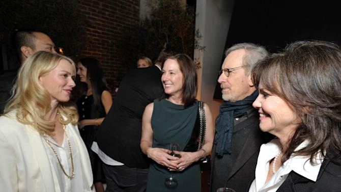 From left, Naomi Watts, Kathleen Kennedy, Steven Spielberg and Sally Field attend The Hollywood Reporter Nominees' Night at Spago on Monday, Feb. 4, 2013, in Beverly Hills, Calif. (Photo by John Shearer/Invision for The Hollywood Reporter/AP Images)