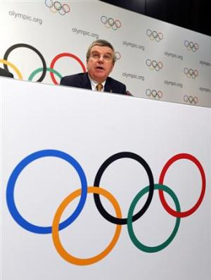 IOC President Bach attends a news conference at the IOC headquarters in Lausanne