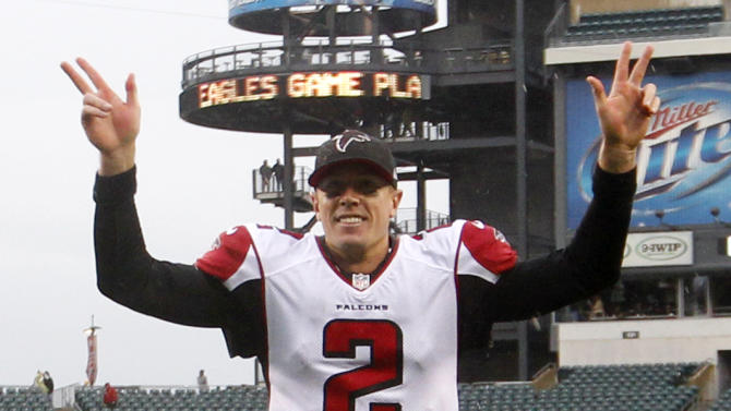 Atlanta Falcons quarterback Matt Ryan reacts while leaving the field after leading his team to a 30-17 victory over the Philadelphia Eagles during an NFL football game, Sunday, Oct. 28, 2012, in Philadelphia. (AP Photo/Mel Evans)