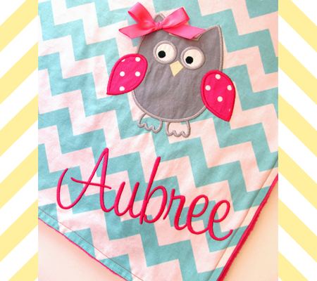 Personalized Chevron Minky Blanket with Owl Detail