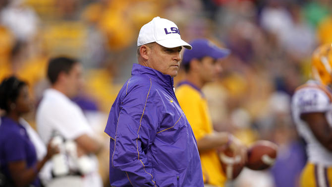 LSU coach Les Miles watches players before an NCAA college football game against South Carolina in Baton Rouge, La., Saturday, Oct. 13, 2012. (AP Photo/Gerald Herbert)