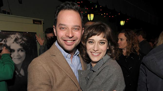 "IMAGE DISTRIBUTED FOR ENTERTAINMENT WEEKLY - Actor/comedian Nick Kroll, left, and actress Lizzy Caplan attend an exclusive screening of Comedy Central's ""Kroll Show"" hosted by Entertainment Weekly on Tuesday, January 15, 2013 at LA's Silent Movie Theatre in Los Angeles. (Photo by John Shearer/Invision for Entertainment Weekly/AP Images)"
