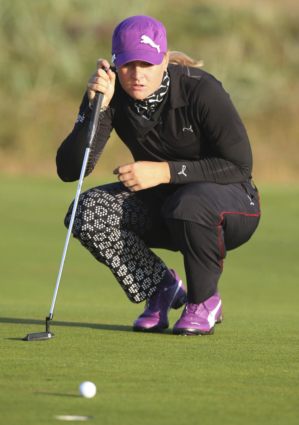 Sweden's Anna Nordqvist judges her putt on the first during the first round of the Women's British Open at Carnoustie Golf Club, Carnoustie, Scotland, Thursday July 28, 2011.(AP Photo/Scott Heppell)