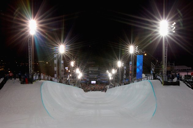 ASPEN, CO - JANUARY 29:  General view from the start area of the halfpipe prior to the men's snowboard superpipe final during Winter X Games 2012 at Buttermilk Mountain on January 29, 2012 in Aspen, Colorado.  (Photo by Doug Pensinger/Getty Images)