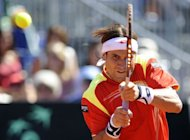 Spain's David Ferrer returns a ball to US Sam Querrey during the first Davis Cup semi-final match Spain vs USA at the Hermanos Castro park court, in Gijon, Northern Spain