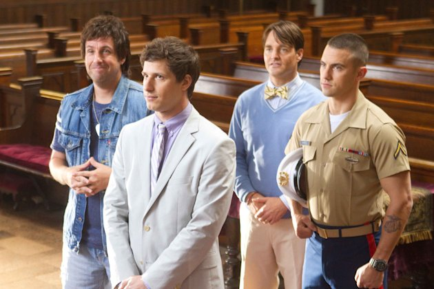 "This film image released by Columbia Pictures shows, from left, Adam Sandler, Andy Samberg, Will Forte and Milo Ventimiglia in a scene from ""That's My Boy."" (AP Photo/Columbia Pictures - Sony, Tracy Bennett)"