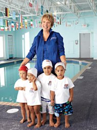 swimming teacher with students at pool