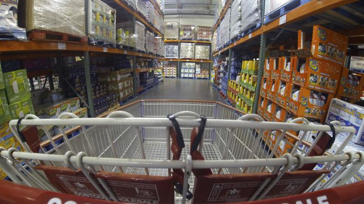 File photo of a Costco shopping cart is shown at a Costco Wholesale store in Carlsbad