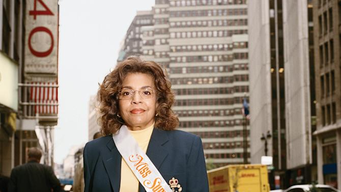 """This 2009 photo provided by Fiona Gardner shows Marcia Kilpatrick Hocker on a Midtown Manhattan street in New York.  Hocker appeared on placards in the New York City subways during Nov. 1974–April 1975 in the """"Meet Miss Subways"""" campaign that ran for 35 years as eye candy to bring attention to other advertisements in New York's transit system."""