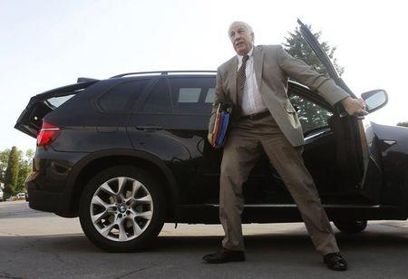Former Penn State University assistant football coach Sandusky arrives at Centre County Court in Bellefonte
