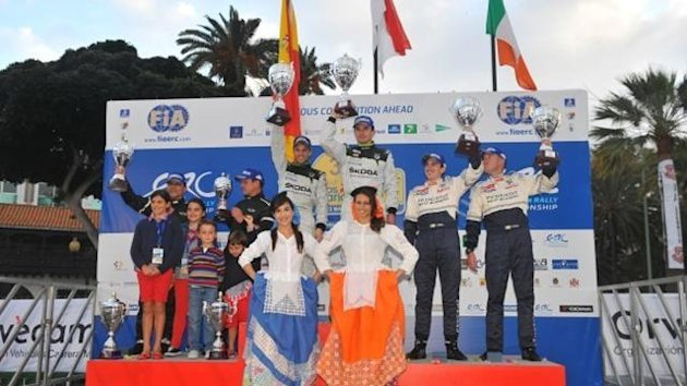 Jan Kopecky atop the podium at ERC Canarias