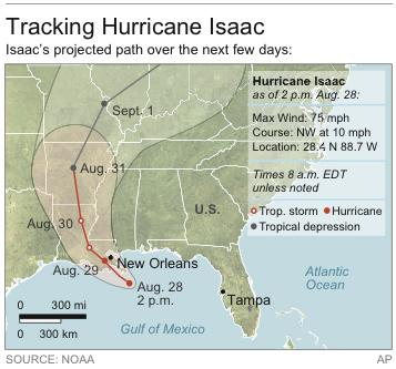 Map shows projected path of Hurricane Isaac