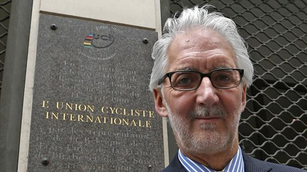 British Cycling President Brian Cookson poses June 24, 2013 in front of the building where the International Cycling Union (UCI) was founded in Paris (Reuters)