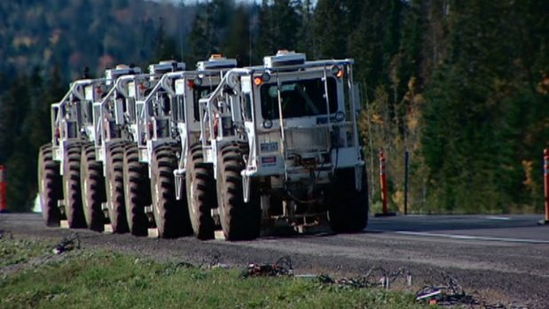 Shale gas trucks in Hampton, N.B.