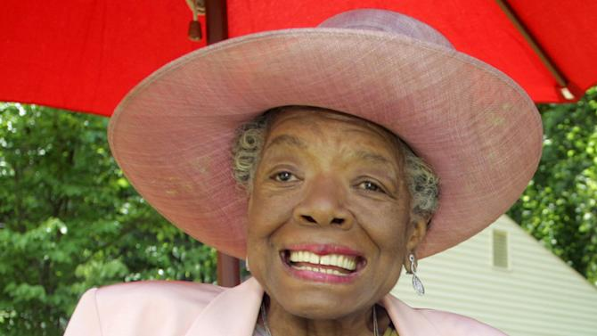 """FILE - In this May 20, 2010 file photo, poet and author Maya Angelou smiles at a garden party at her home in Winston-Salem, N.C. Angelou's latest book, memoir """"Mom & Me & Mom,"""" is a sweet ode to """"Lady,"""" her mother Vivian Baxter, and """"Momma,"""" her paternal grandmother Annie Henderson. (AP Photo/Nell Redmond, file)"""
