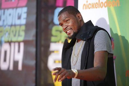 NBA basketball player Durant poses at Nickelodeon's Kids' Choice Sports 2014 award show in Los Angeles