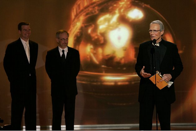 Steven Spielberg and Clint Eastwood at the 64th annual Golden Globe Awards.