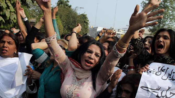 Pakistani eunichs and transgendered people participate in a demonstration demanding equal rights, protection from harassment and attacks and to condemn social injustice, in Lahore, Pakistan, Saturday, Nov. 28, 2015. (AP Photo/K.M. Chuadary)