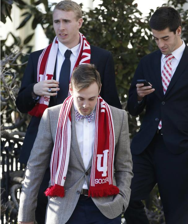 Members of the Indiana University soccer team walk to the South Lawn for remarks by Obama welcoming NCAA champion athletes to the White House in Washington