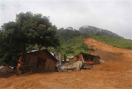 A view of houses destroyed after a mudslide in the village of La Pintada, in the Mexican state of Guerrero